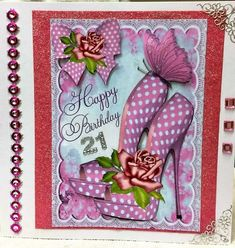 Pink Polka Dot Shoes and Roses for Birthday A4 on Craftsuprint created by Pam Sperling - I printed this on 190 matt photo paper sized it down glued this on deep pink glitter card then glued that on to 8x8 card printed it again and decoupaged the shoe and butterfly plus the bow and flower put on some silver corners and pink gems down one side and a couple of gems on the other side  decoupaged with silicone glue but left the wings of the butterfly plus added a 21 which was required by my…