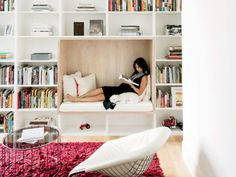 43 ideas home library decor modern reading room Bed Nook, Bedroom Nook, Cozy Nook, Bedroom Decor, Book Shelf Bedroom, Home Library Decor, Home Decor, Book Nooks, Reading Nooks