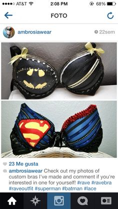 Superhero rave bras Nananana Batman, Fantasy Bra, Mermaid Bra, Rave Gear, Rave Costumes, Raver Girl, Cute Bras, Punk Rave, Rave Festival