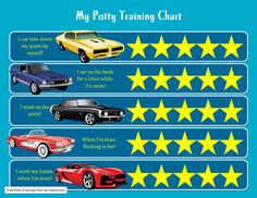 Cars Potty chart i printed for Dawson :) has a Mustang on it :) Printable Reward Charts, Resume Builder, Potty Training Tips, Head Start, Dog Walking, Cool Cars, Boy Or Girl, Preschool, Templates