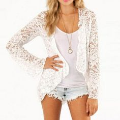 Lace Blouse Short Open Front Cardigan