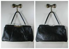 Vintage Black Pebbled Leather Handbag Black Leather Purse Leather Handbag Leather Pocketbook Large Black Leather Bag Vintage 60s Mod Bag by BeehiveBoutiques on Etsy