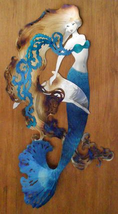 Blue Mermaid with Dolphin 2