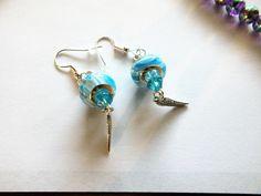 Beautiful Pair Earrings, Turquoise Blue Murano Swirl Beads with Faceted Turquoise Blue Beads with Silver Plated Earring Hooks EA010152016 by BlingItOutLoudCharms on Etsy