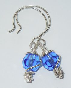Stunning Swarovski Sapphire Wire-Wrapped Earrings - Unique Gift