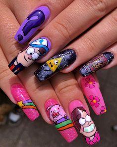 Disney Acrylic Nails, Purple Acrylic Nails, Best Acrylic Nails, Acrylic Nail Designs, Nail Art Cute, Cute Nails, Pretty Nails, Hippie Nails, Anime Nails