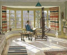 Charles H. H. Burleigh: Averil Burleigh Painting at 7 Wilbury Crescent, 1947. The Burleighs' house was built in 1907, but this room was added in the 1920s. The bright, Modern decor probably dates from the late 1930s,