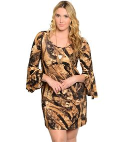 This crazy patterned slim fit dress is super cute and comfy with flared long sleeves. perfect for any casual occasion.
