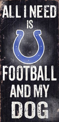 """Indianapolis Colts Wood Sign - Football and Dog 6""""x12"""""""
