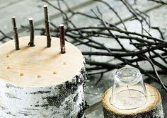 Puiset kynttilänjalat tehdään koivupölleistä sahaamalla. Katso Meidän Mökin ohjeet ja tee itse hauskat kynttilänaluset!