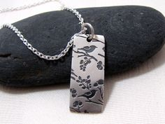 Songbirds And Cherry Blossoms Sterling Silver Necklace