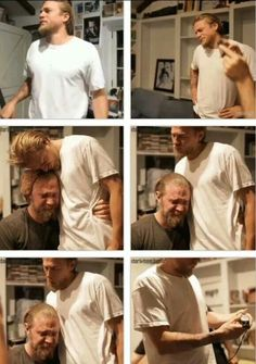 Charlie Hunnman and Ryan Hurst crying when cutting off Ryan's beard. So sad.