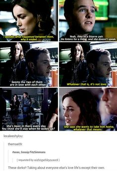 ''Talking about everyone else's love lives except their own.'' / FitzSimmons