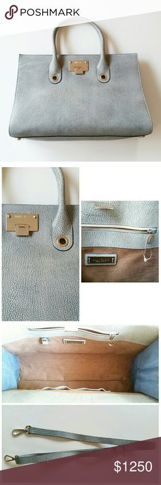 CYBER MONDAY Jimmy Choo Riley Latte Handbag Blue NO TRADES PLZ. New without tags mint condition authentic Jimmy Choo Riley Latte / Denim Goatskin Leather Handbag.  Still has protective plastic on bottom metal studs & plastic tags attached, just no paper tag.  Comes with drop strap.  Never used. Jimmy Choo Bags Totes