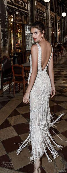 julie vino spring 2018 bridal sleeveless deep plunging v neck full embellishment glamorous elegant sheath wedding dress open v back (07) bv -- Julie Vino Spring 2018 Wedding Dresses
