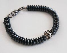 Men's Bracelets - Men's Jewelry - Men's Hematite Disc Bracelets- Beaded bracelet- Unisex bracelets- Men's Accessories- Stretch Bracelet on Etsy, $32.00