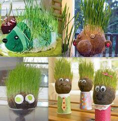 Tutorials hair in grass: www. Science For Kids, Activities For Kids, Grass Man, Theme Nature, Chia Pet, May Arts, Bottle Garden, Tea Art, Diy Planters