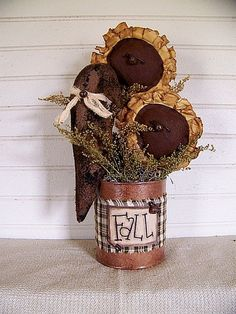 Handmade Primitive Sunflower and Crow Can. $23.99, via Etsy.