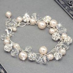 Chunky Pearl, Crystal and Rhinestone Bracelet, $89