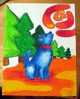 Franz Marc - great lesson idea - draw an animal that represents you  and a color that represents you - and the background a place with meaning for you - oil pastel - complimentary colors (2 sets) and blending!