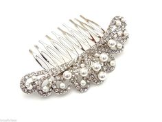 Exquisite Vintage Look Pearl and Crystal Hair Comb Slide Jewellery Bridal Prom
