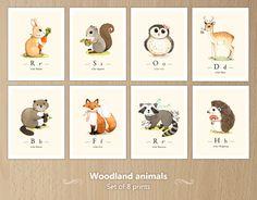 Woodland animals print set, woodland forest animals, Woodland animals nursery, Forest animal, Woodland creatures set of 8 prints by joojoo on Etsy https://www.etsy.com/listing/166511929/woodland-animals-print-set-woodland