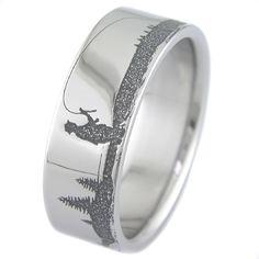 Men's Laser-Carved Titanium Fly Fishing Ring