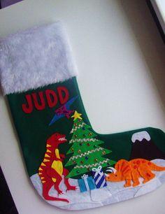 TheBeardedIris Handmade Dinosaur Christmas Stocking | Christmas ...