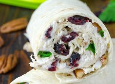 This healthy food idea has chicken, cranberry, and pecans brought together in a salad wrap, for a su . Salad Wraps, Cooking Recipes, Healthy Recipes, Healthy Food, No Cook Meals, Summer Recipes, Healthy Choices, Tapas, Chicken Recipes