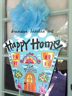 Blue Happy Home Door Hanger - Bronwyn Hanahan Original