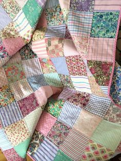colorful yet subdued vintage potluck quilt