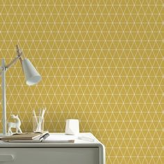 Non-woven wallpaper triangle ocher (design - Space Interiors, Colorful Interiors, Triangles, Contemporary Curtains, Small Space Interior Design, Wall Art Wallpaper, Aesthetic Bedroom, Bedroom Themes, Baby Room Decor