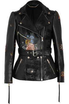 ALEXANDER MCQUEEN Embroidered painted leather biker jacket. #alexandermcqueen #cloth #jackets