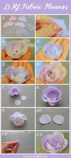 DIY Fabric Flowers diy craft crafts easy crafts diy ideas diy crafts crafty diy decor craft decorations how to craft flowers tutorials teen crafts