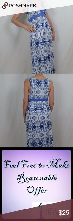 NWT NICOLE MILLER NEW YORK MAXI DRESS THIS IS A BRAND NEW WITH TAGS MAXI DRESS.  IT FEATURES MOCK WRAP FRONT WITH EMPIRE WAIST LINE.  FABRIC IS STRETCHY WITH BLUE FLORAL PRINT OVER WHITE.  GREAT FOR CASUAL OR DRESSY OCCASIONS.  COULD BE PAIRED WITH A BLAZER FOR COOLER WEATHER. Nicole Miller Dresses Maxi