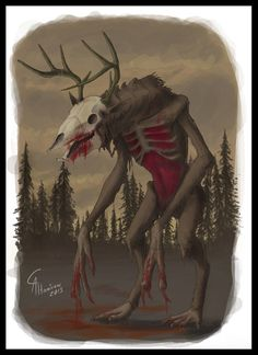 Some of you have asked me to do some more monsters from myth and legend so here comes the Wendigo, i used a new way of coluring this beast with less bla. Monsters: The Wendigo Native American Mythology, Native American Legends, Monster Boy, Creepy Monster, Wendigo Costume, Creepy Skin, Blood Art, Cool Monsters, Fandom