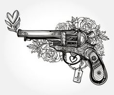 Hand drawn Retro Gun Revolver Pistol with hearts and flowers in vintage style Ornate romantic tattoo Stock Vector