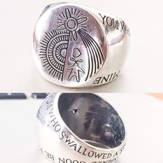 """You who swallow a star oh heartless man, your heart shall soon be mine"" Final of the Howls Moving Castle custom signet in sterling with image and text of the curse."