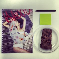 Today in the office, looking forward to S/S14! Oh and the brownie is for motivation of course.. #yum #work #fashion #lookbook