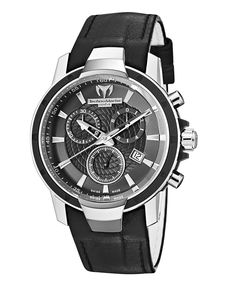 TechnoMarine Watch, Women's Swiss Chronograph UF6 Medium 38mm Black Leather Strap