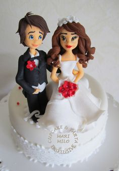 bröllopstårta dekoration brudpar
