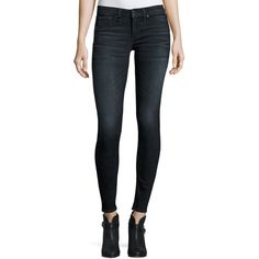 Rag & Bone/Jean Classic Skinny Jeans (305 CAD) ❤ liked on Polyvore featuring jeans, navy, skinny fit jeans, super stretchy skinny jeans, stretch denim skinny jeans, faded skinny jeans and button-fly jeans