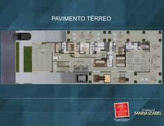 Pavimento térreo. Projeto Residencial Maria Izabel. R. Alm. Tamandaré, 483 - Alto da Rua XV, Curitiba - PR.