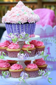 First Birthday Cupcake Tower Party Child Cake Baby Kid 1st Cupcakes
