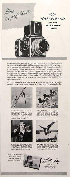 Vintage 1951 Hasselblad Reflex Camera Ad  Memo to a perfectionist ... 1950s Hasselblad: The new Swedish Reflex Camera featuring 80mm Kodak Ektar