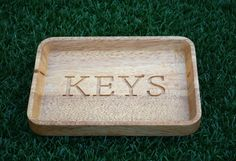 Carved handmade Wooden Key and Accessory Tray by ParkvilleShop