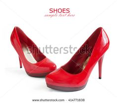 Beautiful red shoes and bag isolated on white background - stock photo