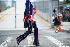 Pinstripes. New York Fashion Week Spring 2015. #streetchic