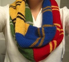 Hogwarts infinity scarf - I've been wanting to make something with all the house colors; this may be it!