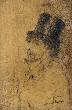 James Ensor Auto portrait 1884 Dessin sur panneau Ronny Van de Velde
